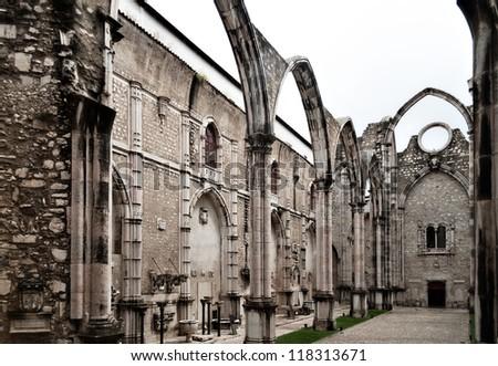 The Carmo Convent (Portuguese: Convento da Ordem do Carmo) is a historical building in Lisbon, Portugal. - stock photo