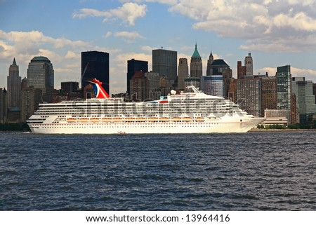 The Carnival Victory cruise ship is leaving New York City on June 19, 2008 - stock photo