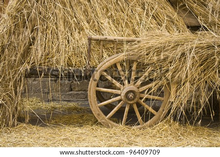 The carriage A carriage loaded with golden straw - stock photo