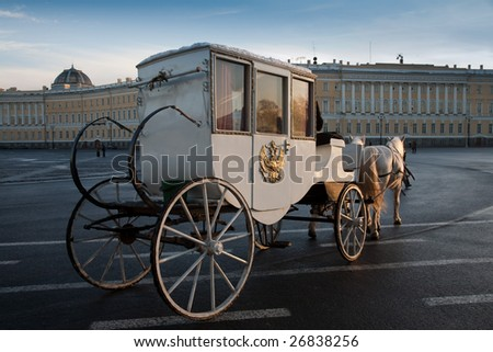 The carriage on the Palace Square in Saint-Petersburg. Russia - stock photo