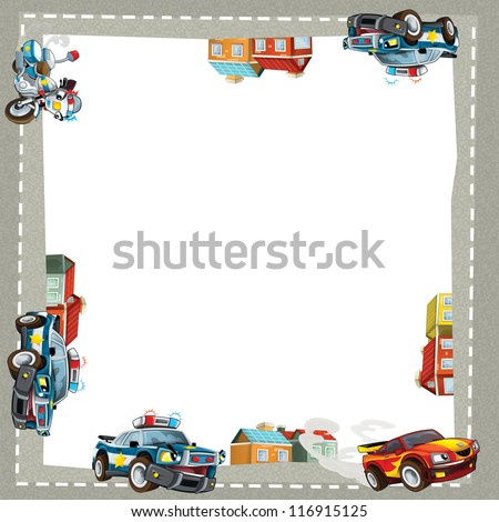 The cartoon police pursuit - border - illustration for the children - stock photo