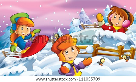 The cartoon snow fight - kid doing freestyle slide - illustration for the children 2 - stock photo