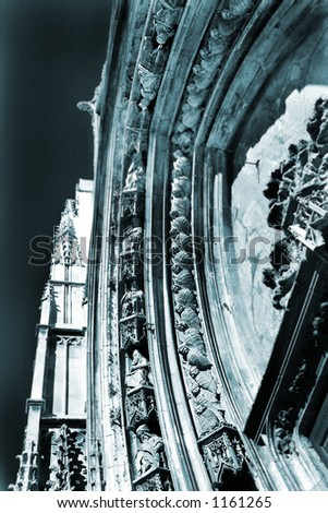 The carved Marble Arch of Cathedrale Sainte Sauveur in Aix-en-Provence, France – Statues of the Saints.  Blue tone, Photographic Technique. - stock photo
