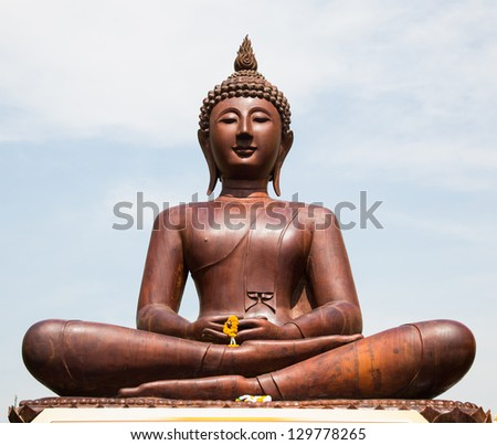 The carved of Buddha made of iron wood, Thailand. - stock photo