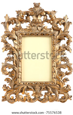 The carved wooden frame painted with a gold paint, isolated on a white background. - stock photo