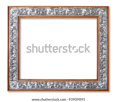 The Carving frame on the white background - stock photo