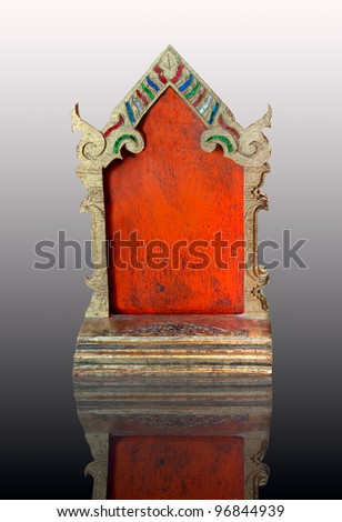 The Carving wood of put paper or mail thai style on reflect background - stock photo