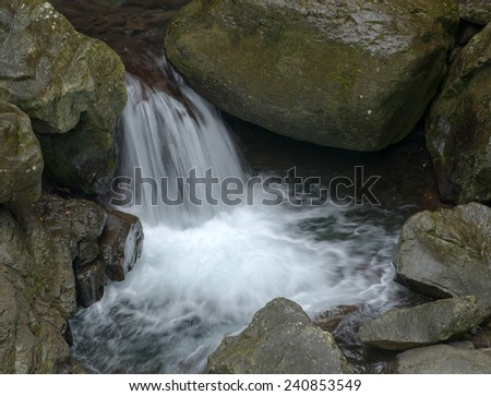 The cascade of falls on the mountain river in taiwan - stock photo