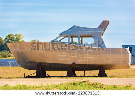 The case of a boat on coast - stock photo