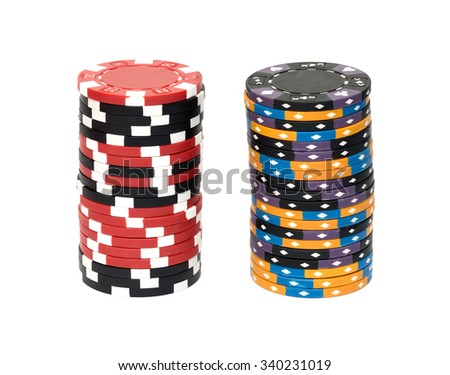The casino chips isolated on white background - stock photo