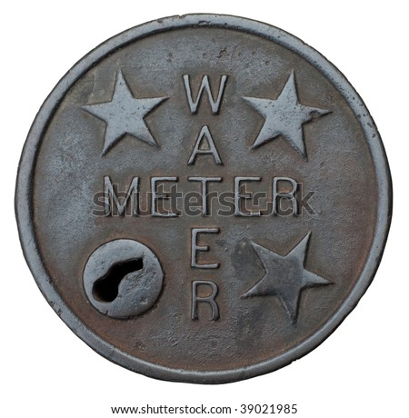 The cast iron cover plate for a water meter, isolated on a white background