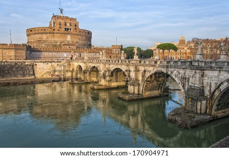 The Castel Sant Angelo situated in the Italian capital of Rome. - stock photo
