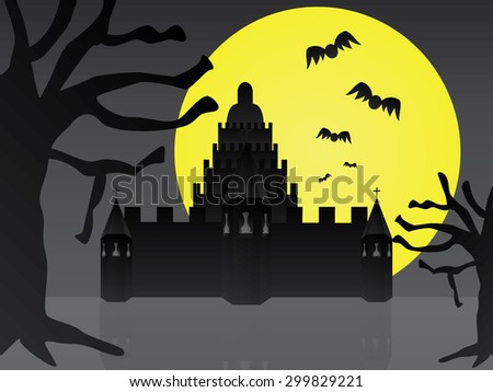 The castle and the big moon for halloween day - stock photo