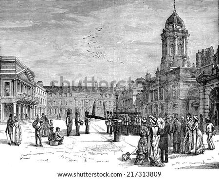 The castle courtyard, vintage engraved illustration. Journal des Voyages, Travel Journal, (1879-80). - stock photo
