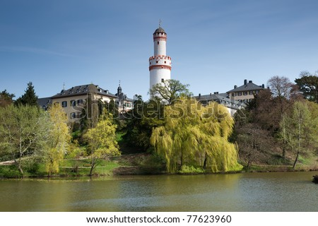 The Castle gardens in Bad Homburg, a famous spa town popular with tourists near Frankfurt, Germany. - stock photo