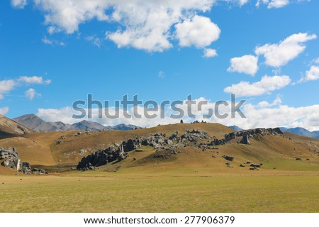 The Castle hill, Southern Alps, Arthur's Pass, New Zealand - stock photo