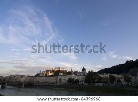 the castle Hohensalzburg and city Salzburg - Austria - stock photo