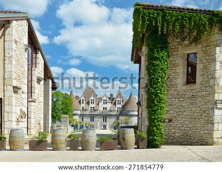 The castle itself is a listed historical monument and dates from the 16th century. Sweet botrytized wines have been made in Monbazillac for centuries. - stock photo