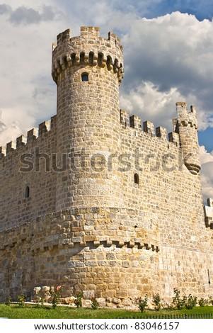The Castle of Cartagena, a town of Sasamon Olmillos, Burgos, Spain (XV century). - stock photo