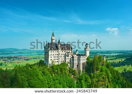 The castle of Neuschwanstein in Bavaria, Germany. - stock photo
