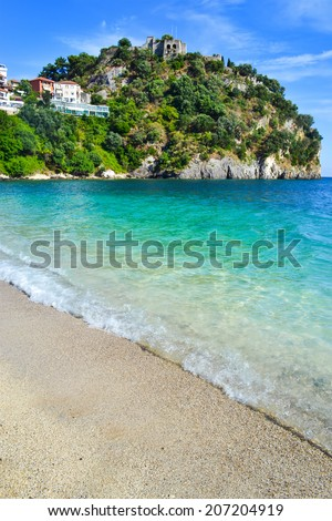 The Castle of Parga near a sandy Valtos beach - stock photo