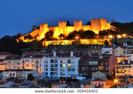 The Castle of Sao Jorge  is a Moorish castle overlooking the city of Lisbon, the capital of Portugal, dates from medieval time - stock photo