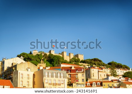 The Castle of St. George in Lisbon, Portugal. It is a popular tourist attraction of Europe. - stock photo
