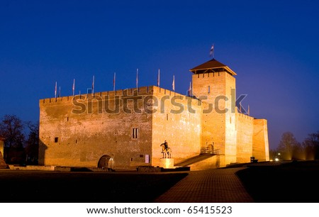 The castle of the Hungarian city Gyula in twilight - stock photo