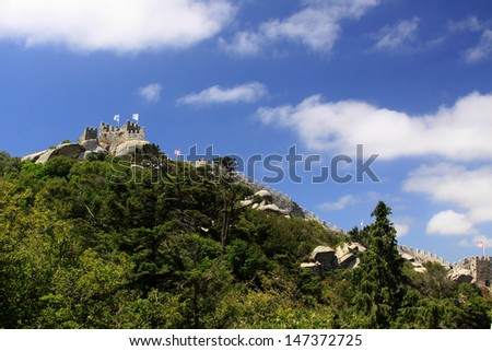 The Castle of the Moors, hilltop medieval castle located in the Sintra, Portugal - stock photo