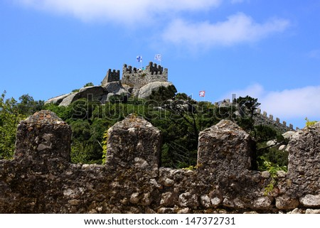 The Castle of the Moors, hilltop medieval castle located in the Sintra, Portugal