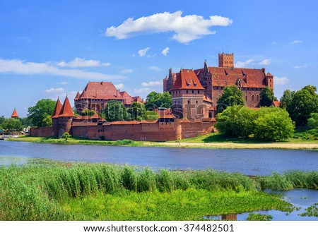The Castle of the Teutonic Knights Order in Malbork, Poland, historical Prussia - stock photo