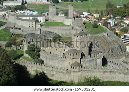 The Castles of Montebello and Castelgrande at Bellinzona on the Swiss alps