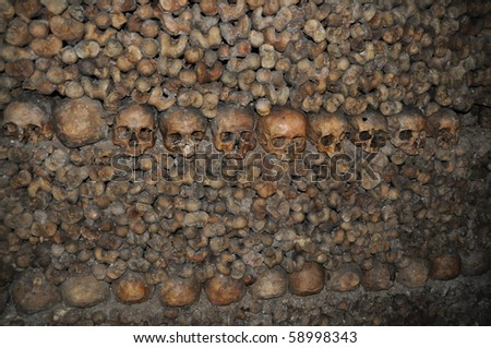 The Catacombes of Paris, France - stock photo