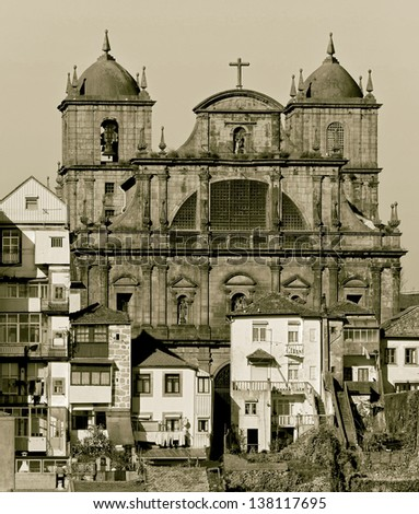 The catedral and house in the old quarter of Ribeira - Porto, Portugal (stylized retro)