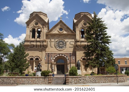 The cathedral basilica of Saint Francis of Assisi near the plaza of Santa Fe, New Mexico. - stock photo