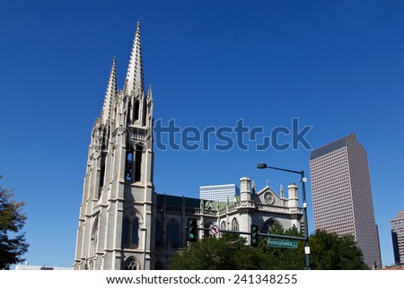 The Cathedral Basilica of the Immaculate Conception - stock photo