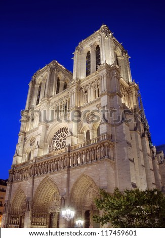 The cathedral Notre Dame de Paris on island Cite in Paris, France.