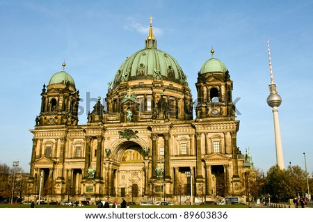 The cathedral of Berlin with the Television Tower - stock photo