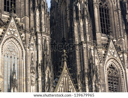 The cathedral of Cologne. Detail from facade - stock photo