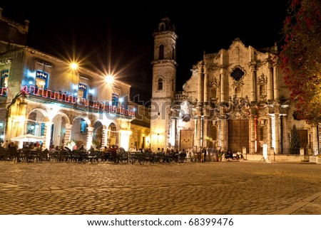 The Cathedral of Havana and its adjacent square at night - stock photo