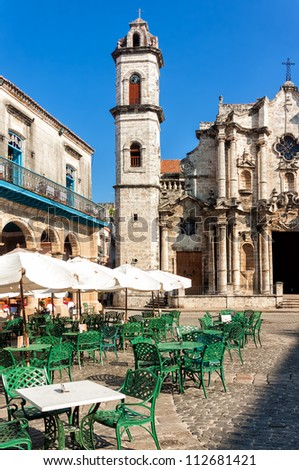 The Cathedral of Havana and the famous nearby square on a beautiful day - stock photo