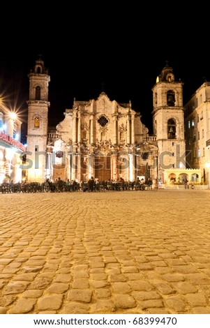 The Cathedral of Havana at night - stock photo