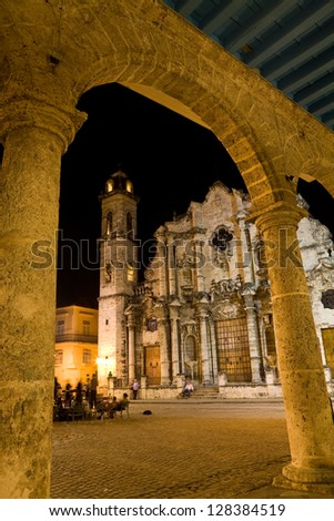 The cathedral of Havana at night in Cuba - stock photo