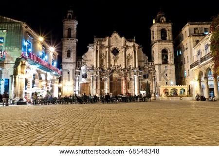 The Cathedral of Havana illuminated at night - stock photo