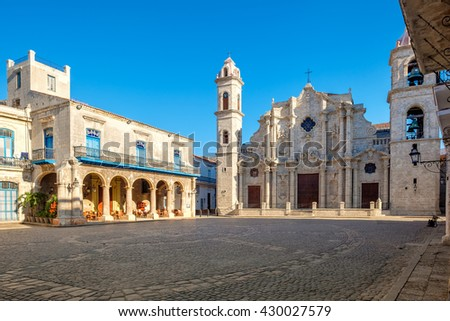 The Cathedral of Havana in Cuba on a beautiful day with a clear blue sky - stock photo