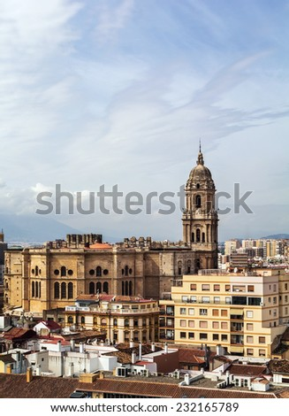 The Cathedral of Malaga is a Renaissance church in the city of Malaga in Andalusia in southern Spain.It was constructed between 1528 and 1782. View from Alcazaba - stock photo
