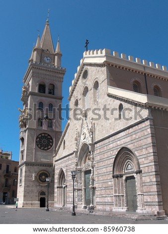 the cathedral of Messina built by the norman king Ruggero II dates back to 1120 - stock photo