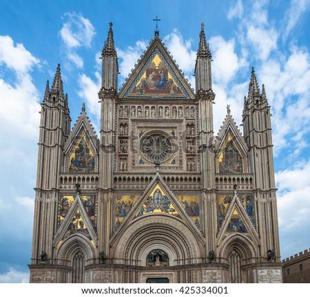 The Cathedral of Orvieto (Duomo di Orvieto), Umbria, Italy - stock photo