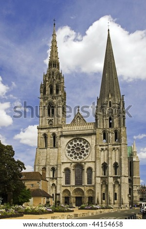 The Cathedral of Our Lady of Chartres, front view - stock photo