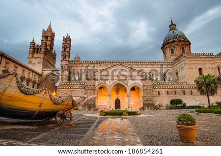 The cathedral of Palermo, Sicily, Italy. Early morning - stock photo